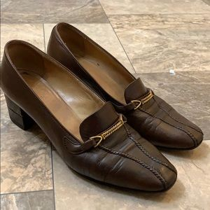 Designer Gucci Brown Leather Chain Heeled Loafers